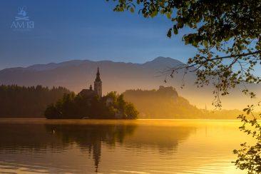 Východ slnka pri jazere Bled, Slovinsko