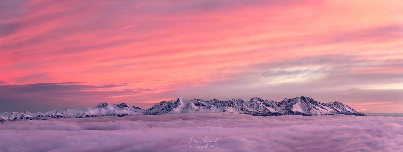 Panoráma Vysokých Tatier, pohľad z hrebeňa Nízkych Tatier