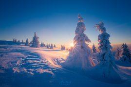 Zimný západ slnka vo Veľkej Fatre